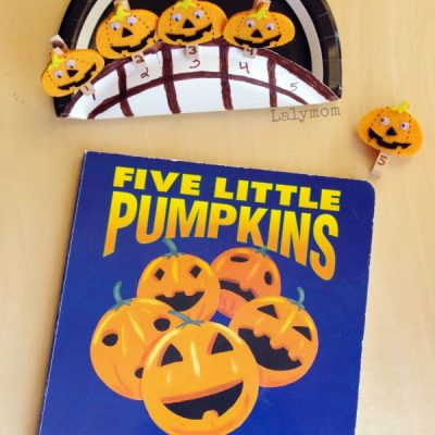 Five Little Pumpkins Counting Playset - perfect halloween read and play, book extension activity