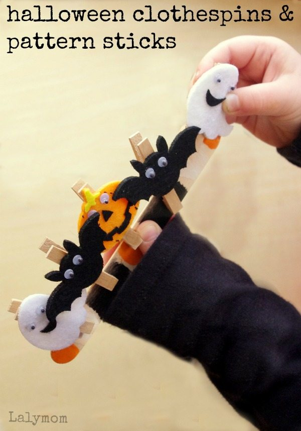 Halloween Clothespins and Pattern Sticks Fine Motor Skills Activity on Lalymom.com - so cute and easy!