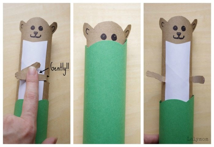 Pop Goes the Weasel Pop-Up craft - Cardboard Roll Nursery Rhyme Craft on Lalymom - cute little guy!