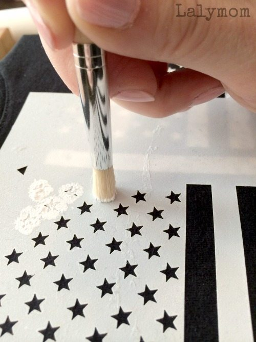 Tips for stenciling a t-shirt from lalymom. sponsored post for Folkart Stencils and Paints