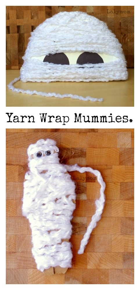 Yarn Wrap Mummies - Halloween Themed Fine Motor Skills Activities on Lalymom.com - so cute!