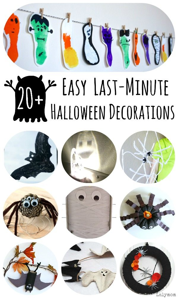 20+ Ideas for Easy DIY Halloween Decorations - handmade decorations with spooky themes like ghosts, bats, spiders, monsters, mummies, pumpkins and more!