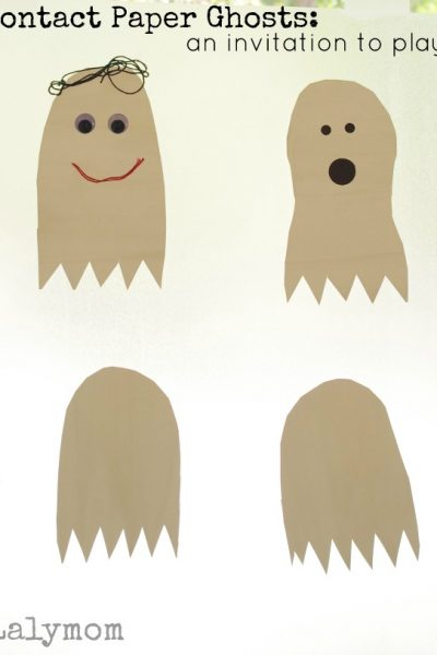 Contact Paper Ghost Crafts - A Halloween Fine Motor Invitation to Play on Lalymom.com look at how cute this is! Would be fun for a kids Halloween party or playdate!