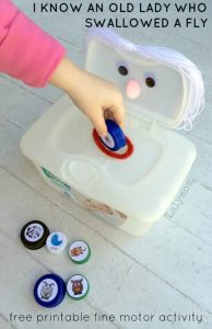 Fine Motor Activity for Kids I Know an Old Lady Who Swallowed a Fly with Free Printable on Lalymom.com - my kids love this song!