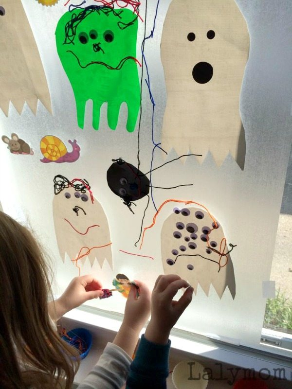 Halloween Contact Paper Ghost Crafts Monsters and Spider on Lalymom - love all those googly eyes!