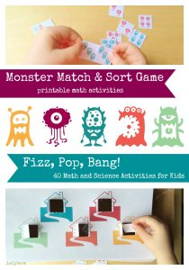Monster Match & Sort Game - One of the 20 printable activities included in Fizz, Pop, Bang 40 Math and Science Activities for Kids on Lalymom.com - Great STEM resource for parents and teachers!