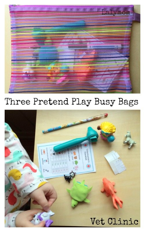 Three Pretend Play Busy Bag Ideas from Lalymom - How cute!