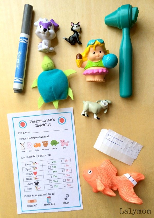 Veterinarian Pretend Play Busy Bags Preschooler Activity on Lalymom.com - my kids love playing vet!