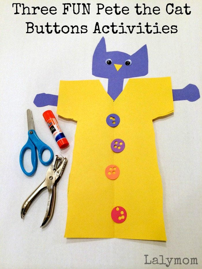3 FUN Pete the Cat Buttons Book Extension Activities on Lalymom.com - Cutting Practice, paper punches and more!