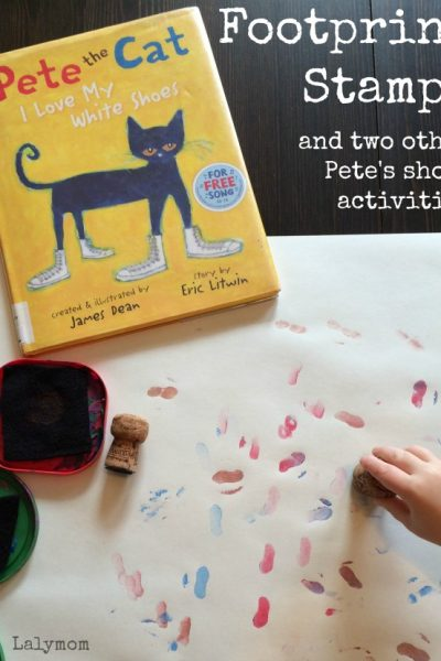 3 Pete the Cat Shoes Activities for Preschoolers and Toddlers on Lalymom.com - I love my White Shoes Footprint Stamping - my kids LOVE this book, so fun!
