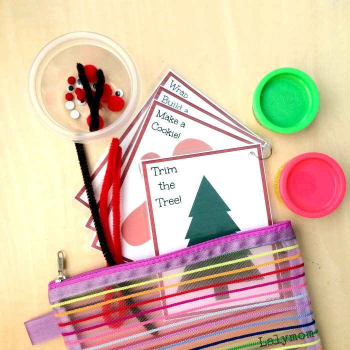 Christmas Activities for Kids - Busy Bag with Printable Activity Cards on Lalymom.com - Click to get your copy!