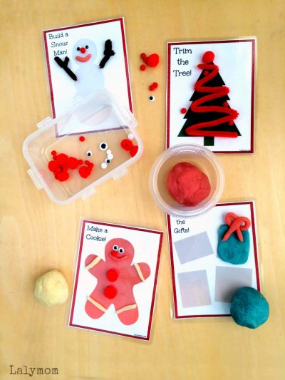 Free Printable Christmas Themed Playdough and Activity Cards for Kids on Lalymom.com - Cute holiday busy bag idea!