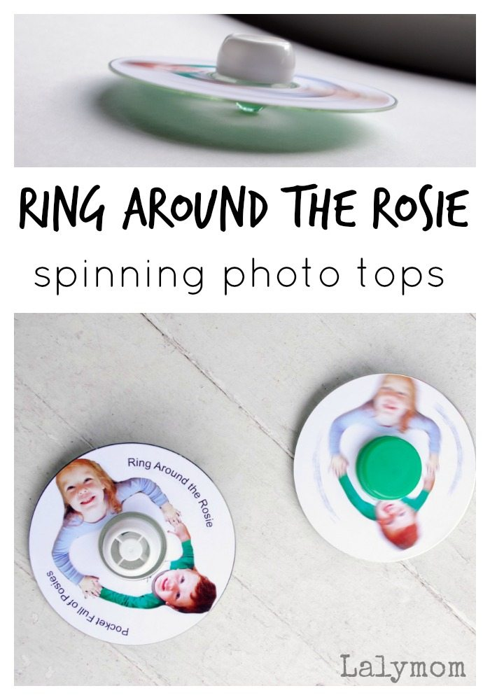 Ring Around the Rosie Spinning Photo CD Tops on Lalymom.com - what a super fun nursery rhyme activity idea for kids!
