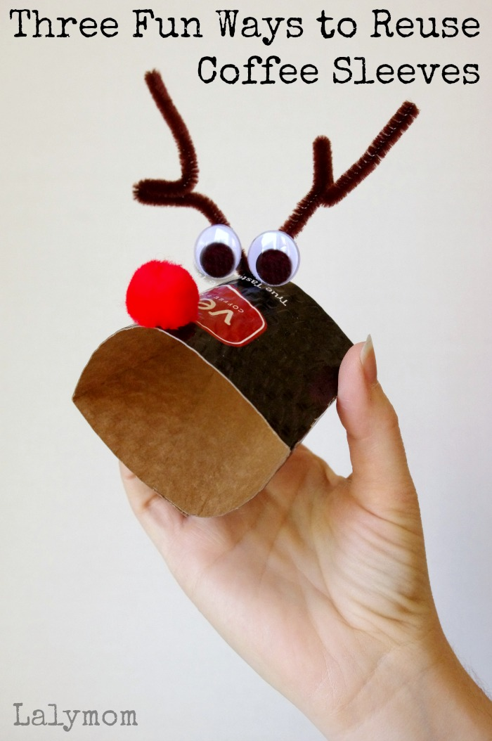 3 Fine Motor Activities that Reuse Coffee Sleeves on Lalymom.com - Reindeer coffee sleeves - check out the other ideas too!