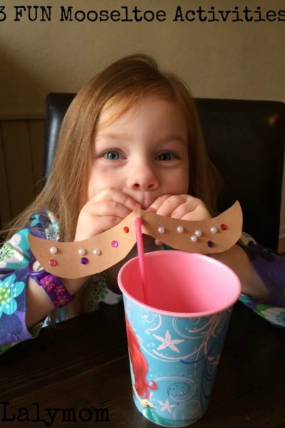 3 Funny Mooseltoe Moosestache Ideas for kids on Lalymom.com - Click to see all three! Such fun kids activities for such a fun book!