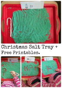 Fun Writing Activities- Christmas Salt Tray with Free Printable Seasonal Words Cards