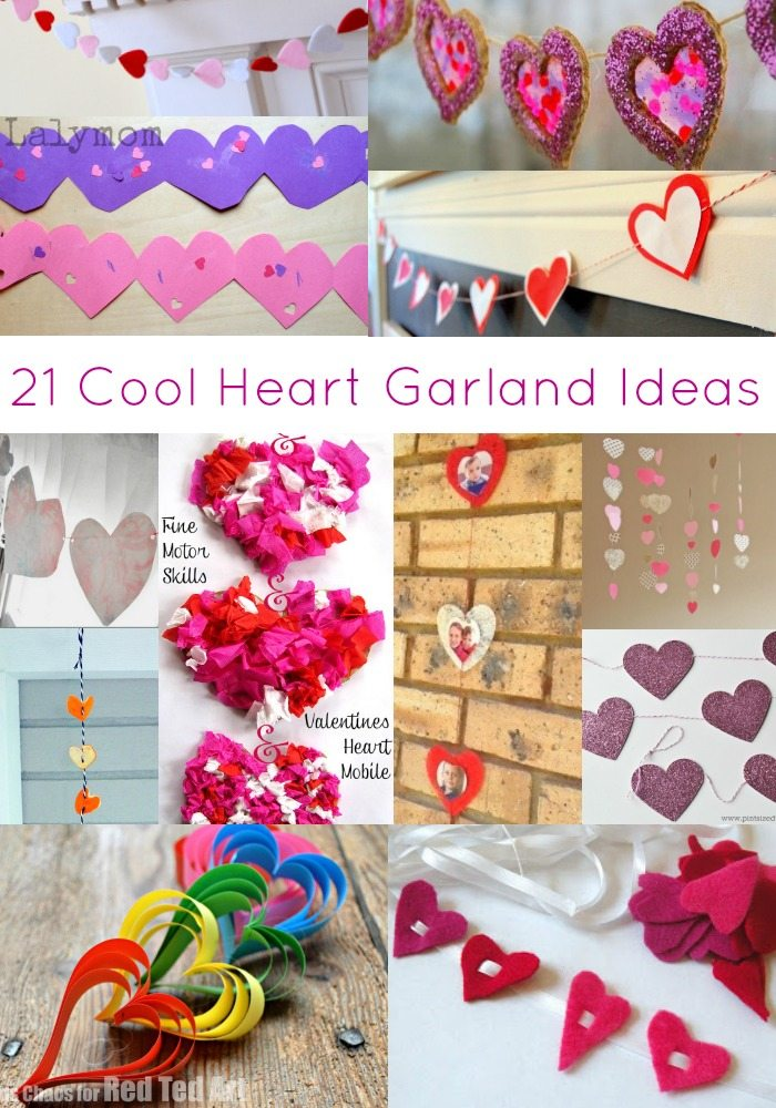 21 Cool Heart Garland Ideas to Make- Perfect for Valentine's Day, Mother's Day or just for fun!
