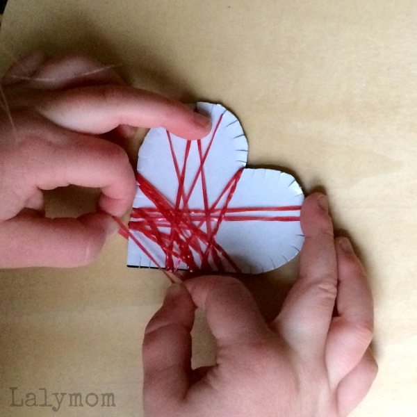 3 Simple Valentines Day Activities for Kids - Loom Band Cross My Heart Busy Bag