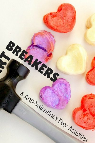 8 Fun Heartbreakers - Anti Valentines Day Activities - Hammering Heart-Shaped Baked Cotton Balls and other fun ideas - Click through to see all the activities