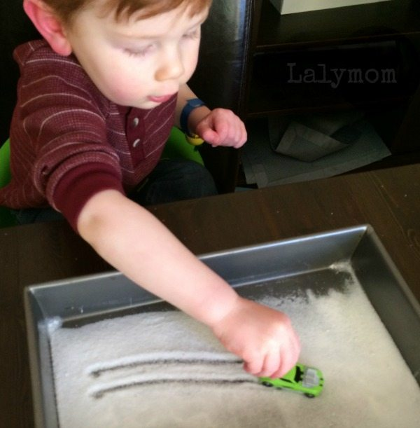 Car Salt Tray on Lalymom - Simple Low prep toddler activity
