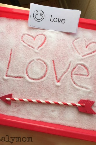 Easy Valentine's Day Writing Activity - Salt Tray with Free Printable Word Cards