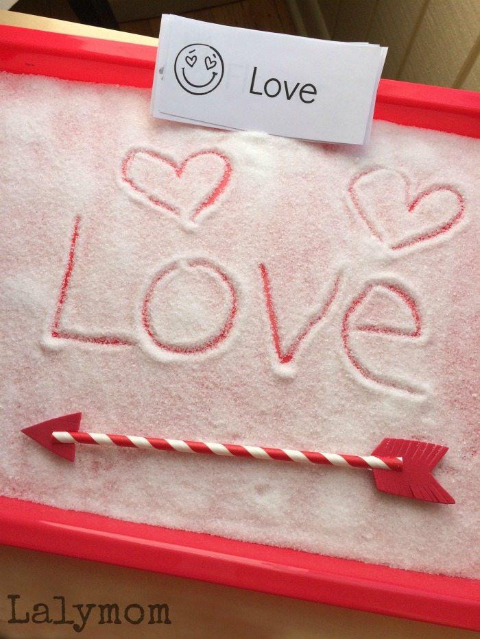Fun Writing Activities- Valentine Salt Tray