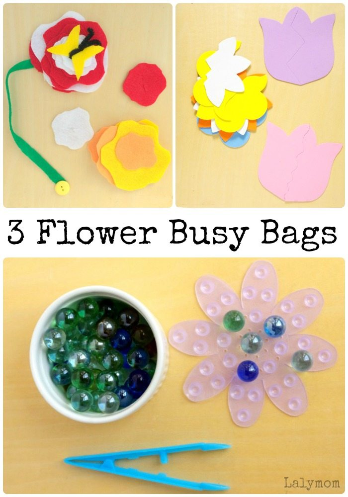 3 Flower Busy Bags- Part of the Busy Bags Blog Hop. Click through to see all of this month's SPRING themed busy bags ideas!