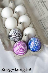 Easter Egg Design Ideas - Zegg-Tangle Zentangle Eggs