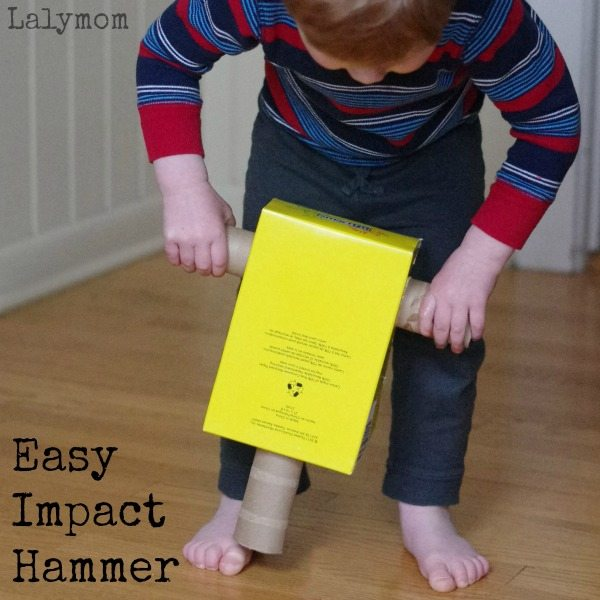 Impact Hammer - Easy Cardboard Craft for kids who love construction sites and construction vehicles - Made from recycled materials.