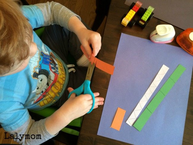 Quick toddler crafts - cut, punch, paste monster trucks and trains