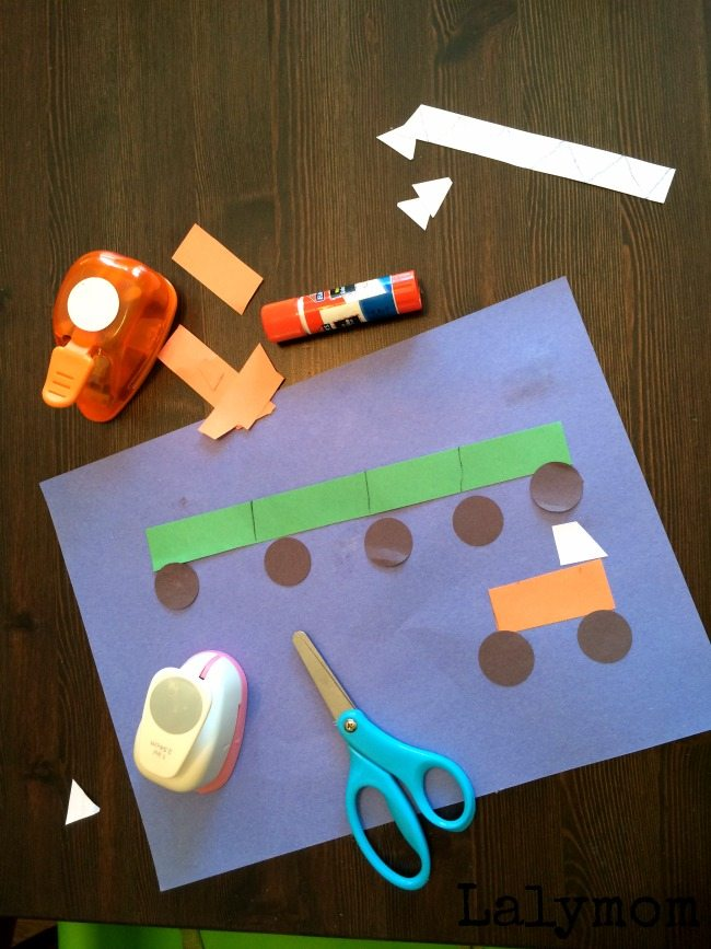 Toddler Construction Paper Crafts - Cut, Punch, Paste Monster Trucks and Trains - on Fine Motor Fridays