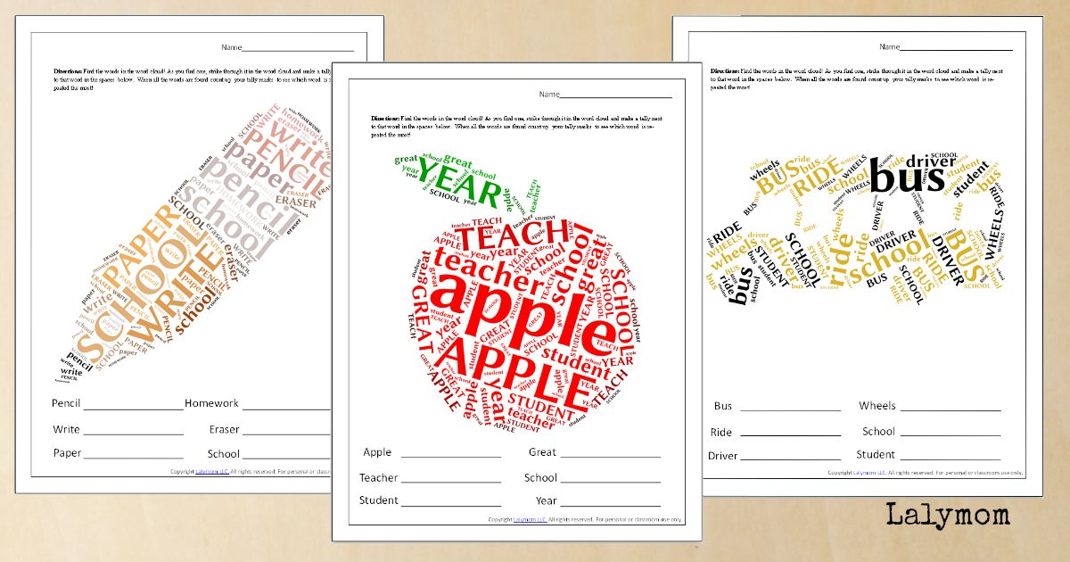 Back to School Word Cloud Printables - Worksheets with apple, bus and pencil word clouds.