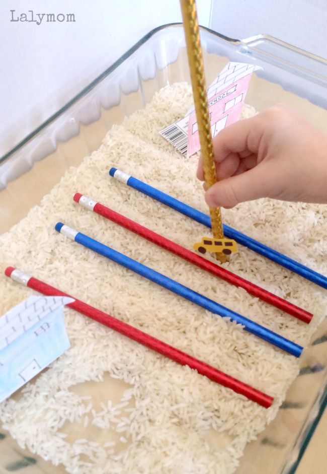 Back to school themed fine motor skills activity - Drive the Bus Sensory Maze
