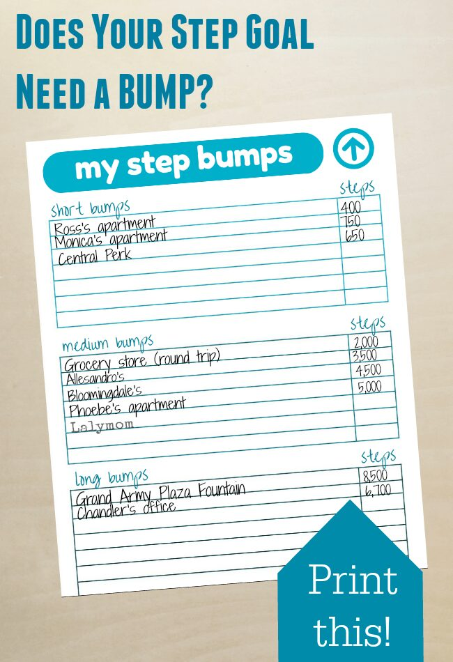 Free printable to help your reach your step goal with your Fitbit, Jawbone or other fitness tracker. Awesome Fitbit Hack!