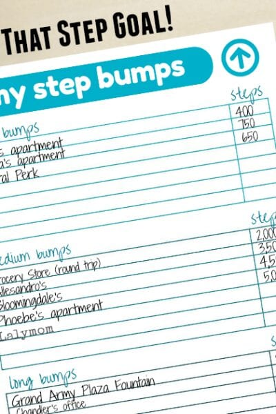 Reach your 10000 Steps Goal with Step Bumps - Free Printable to help reach your step goal using a Fitbit, Jawbone or other fitness tracker!