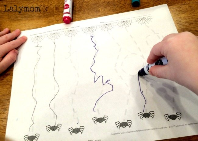Free Printable Halloween Worksheets - Silly Spiderwebs Writing Practice Activity form Kids