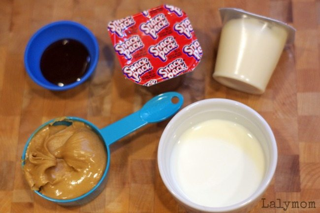 Ingredients for Easy Peanut Butter Cup Dip - Simple Dip Recipe inspired by the Peanuts movie! Perfect for any Charlie Brown or Snoopy birthday party- or for any day with your favorite peanut butter lover!