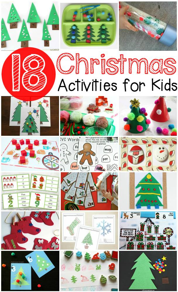 18 Awesome Christmas Activities for kids- Fine motor activities, free printable Christmas Worksheets and more!