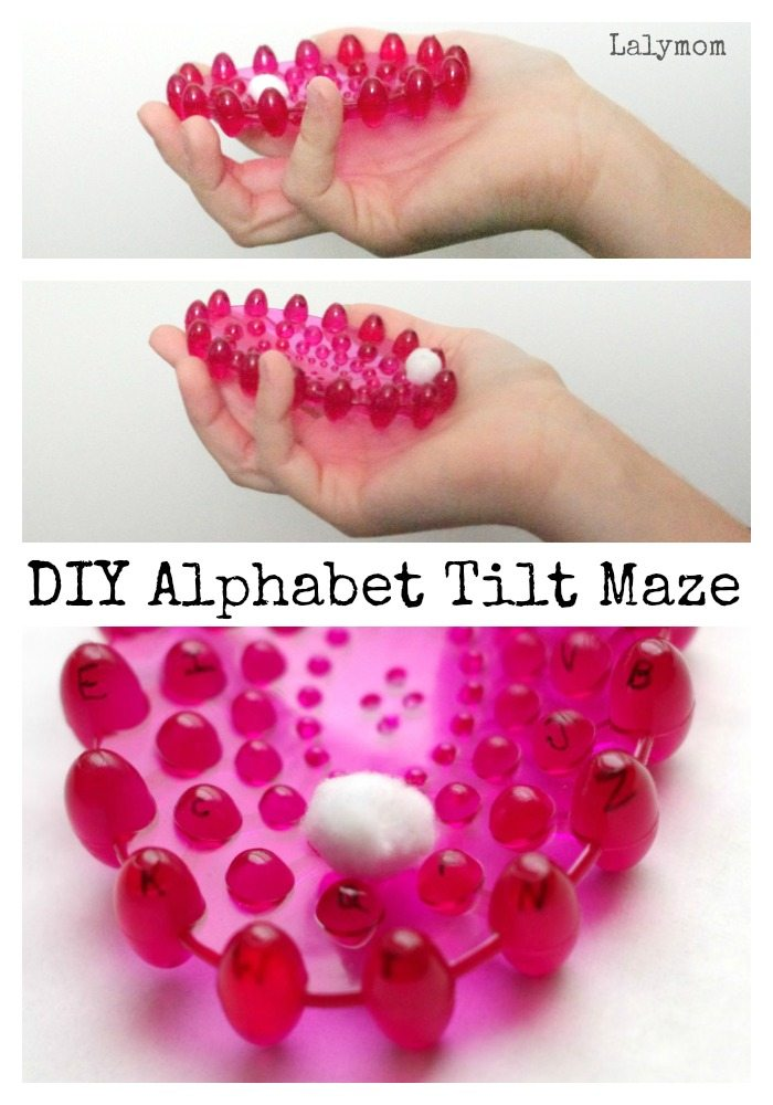 DIY Alphabet Tilt Maze - adaptable for kids and adults. Perfect for working on pincer grasp and bilateral coordination.