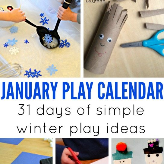 Free Monthly Play Calendars - Free January Activities for Kids - Includes winter themed crafts, outdoor play ideas and indoor boredom busters