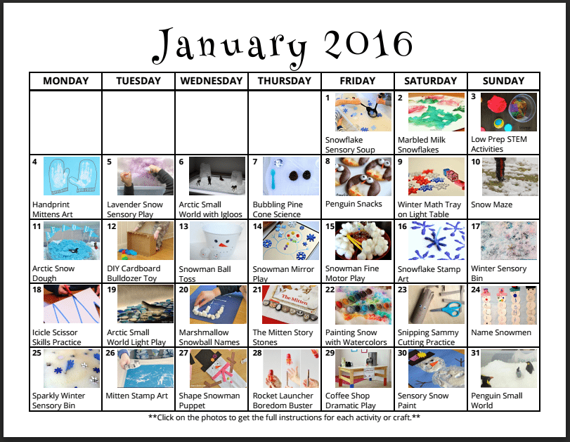 January Play Calendar - Full of January Activities for Kids, Winter Crafts and Indoor Boredom Busters