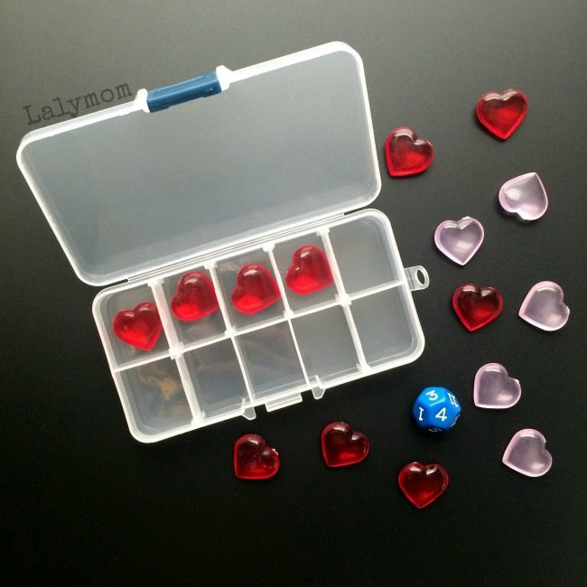 Valentine Math Activity Using a Portable Ten Frame Kit on Lalymom - Cool Math Ideas for Valentine's Day, or any day! Perfect for classroom math center, a waiting room activity or to play at home.