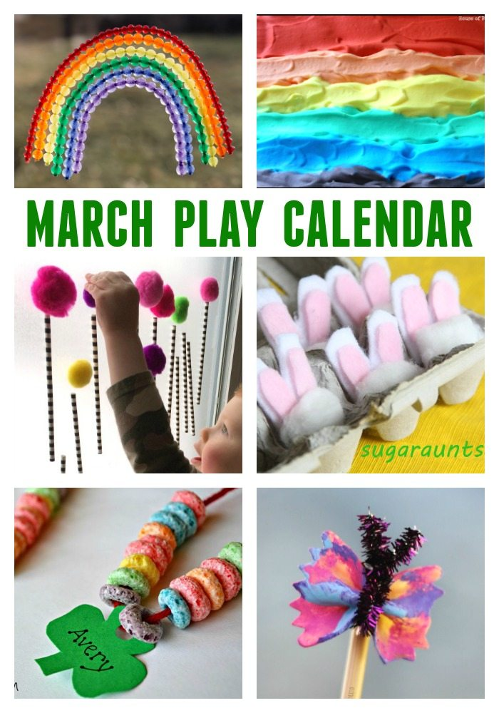 March Play Calendar- 31 Days of Themed Crafts and Activities for Kids, featuring Seuss activities, St. Patrick's Day Ideas, Easter Fun and More