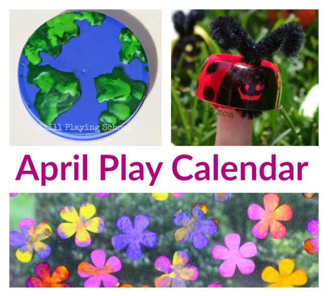 April Play Calendar for Kids - Free Clickable Calendar with 30 days of Earth Day, Gardening and Spring Nature themes!