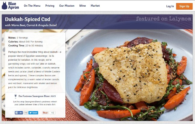 Blue Apron Reviews - Cod Recipe on Lalymom