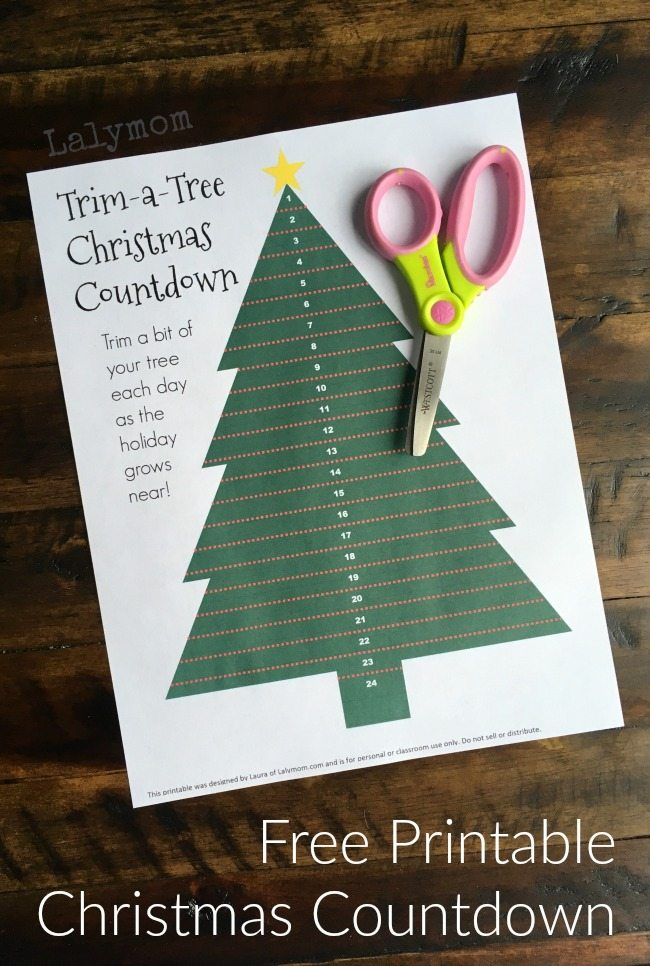 Free printable Christmas countdown for kids trim the tree every day from now until Christmas what a fun easy idea!