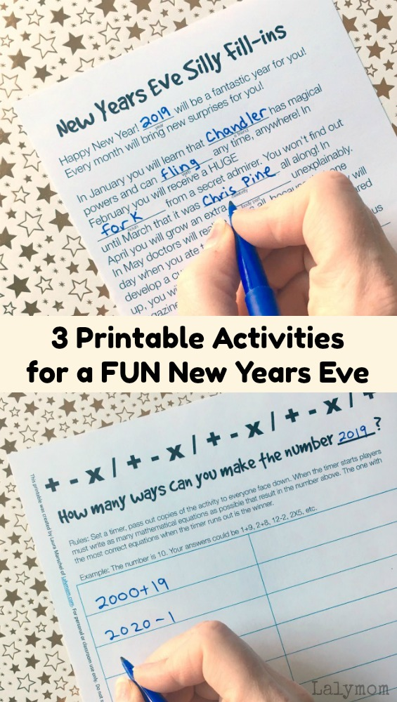 3 Fun New Years Even Activities for Kids - Print these fun, easy printable games for a fun New Year's Eve! #newyearseve