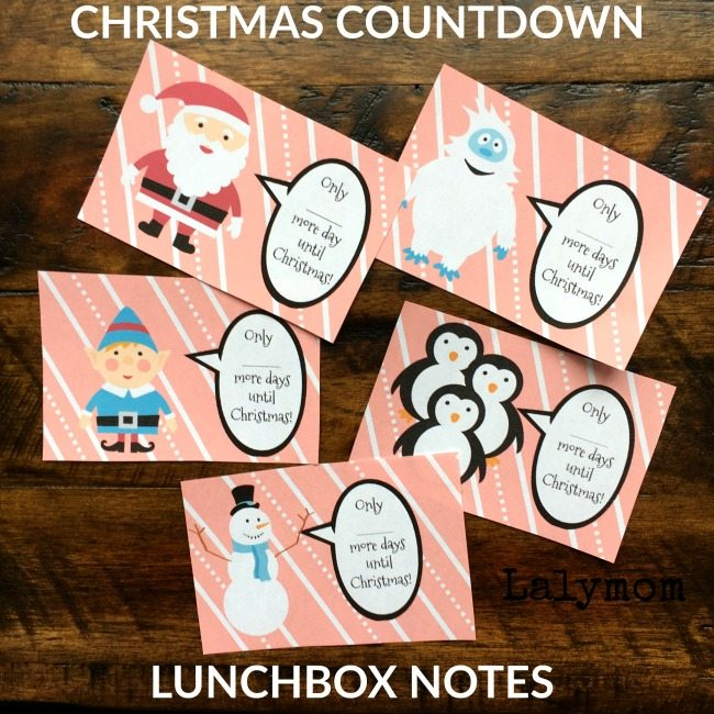 Christmas Coundown Lunchbox Notes for Kids - Free Printable Lunch Notes, cool advent idea!