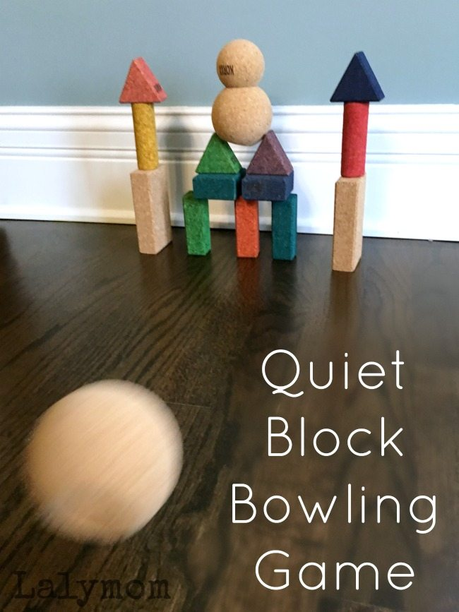 Quiet Bowling Activity for Kids Using QUIET Cork Building Blocks!