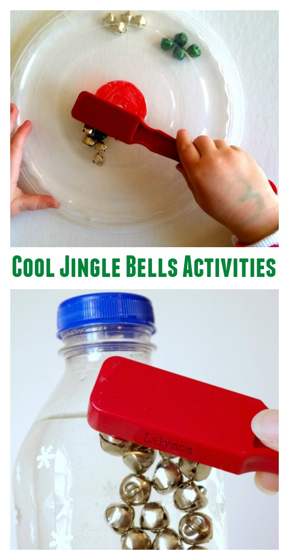 Try These Cool Jingle Bells Activities for Kids - So many fun ideas for playing with jingles bells - Magnets, Mazes, Sensory Bins and more! Perfect for Christmas party stations.